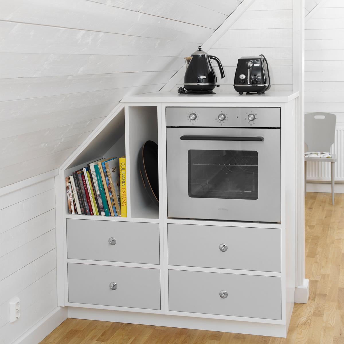 Har du en plats med konstiga mått så gör vi en köksdel med exakt lika konstiga mått. Konstigare är det inte...